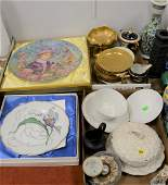 Two tray lots with set of twelve Pickard etched china,