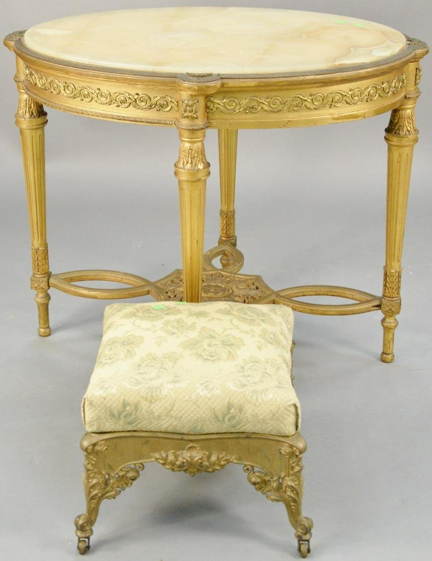 Two piece lot to include Louis XVI style oval table