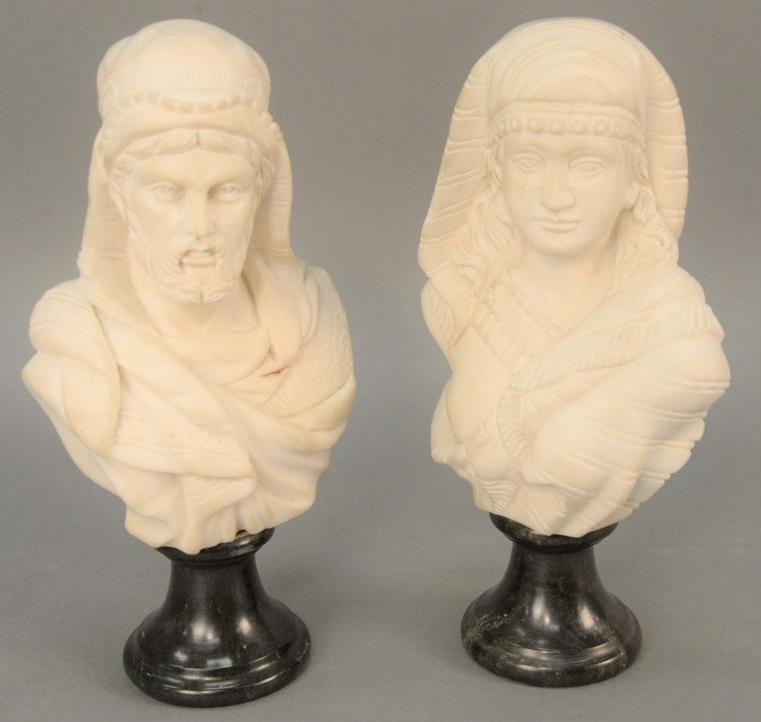 Pair of Italian Marble Busts, each white marble,