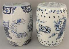 Two blue and white Chinese garden seats. ht. 17 1/2