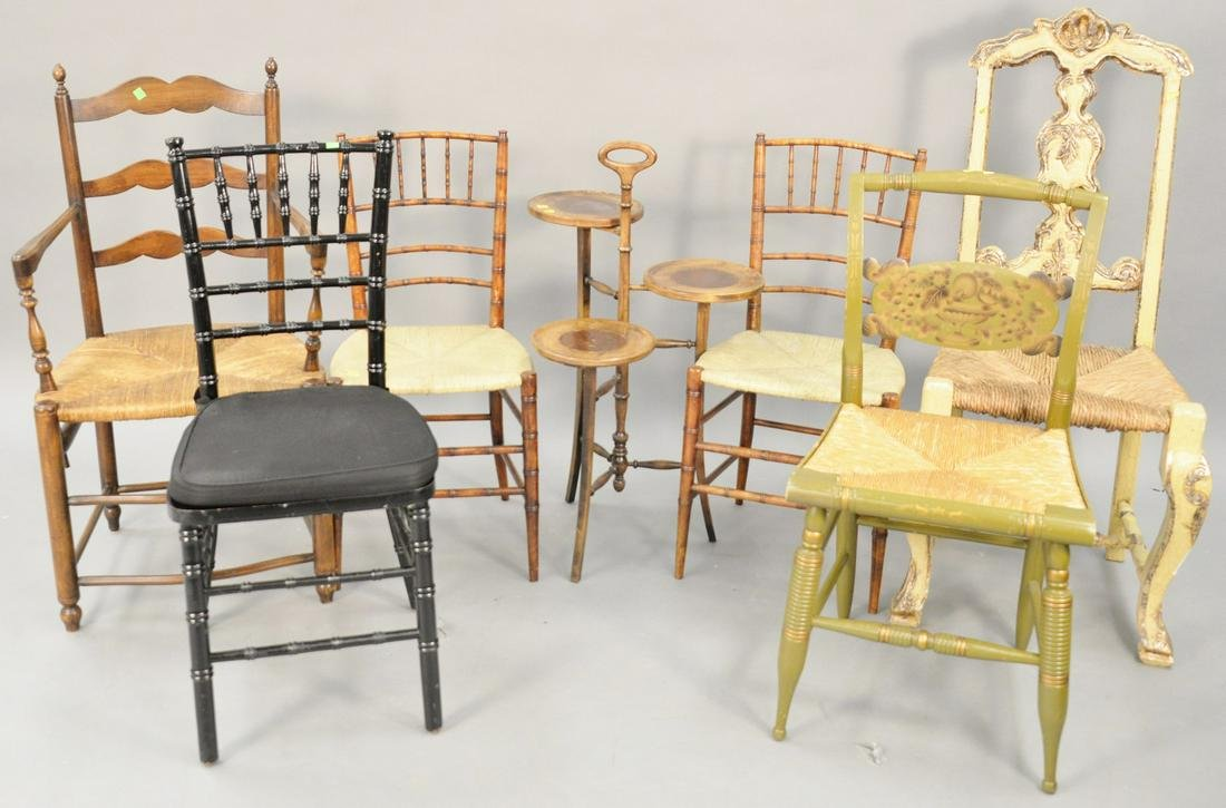 Six piece lot to include three bamboo turned side