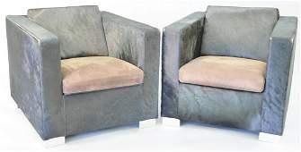 "Pair of Minotti club club chairs,""Suitcase"" line,"