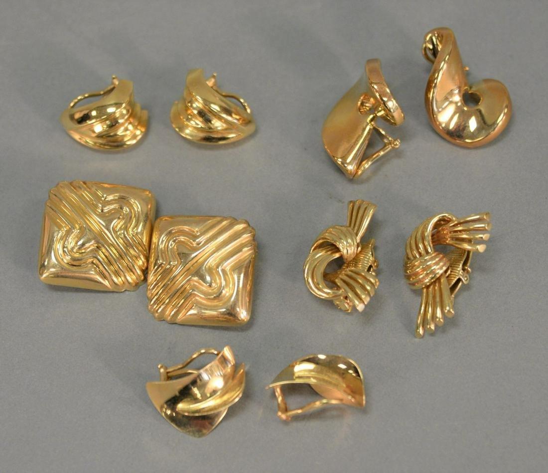 Five pairs of 14K gold earrings. 43.8 grams total