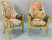 Pair of Sue et More giltwood upholstered armchairs,