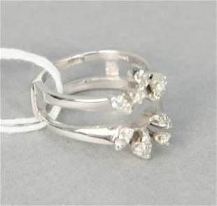 14 karat white gold shield ring set with diamonds, 5.3