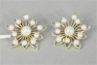 Pair of 14 karat white gold and cultured pearl
