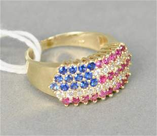 14 karat gold and cubic zirconia ring in the form of a