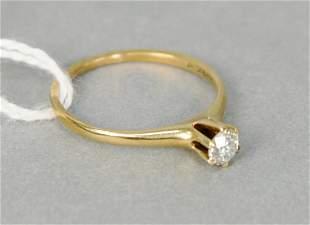 14 karat yellow gold and diamond engagement ring set