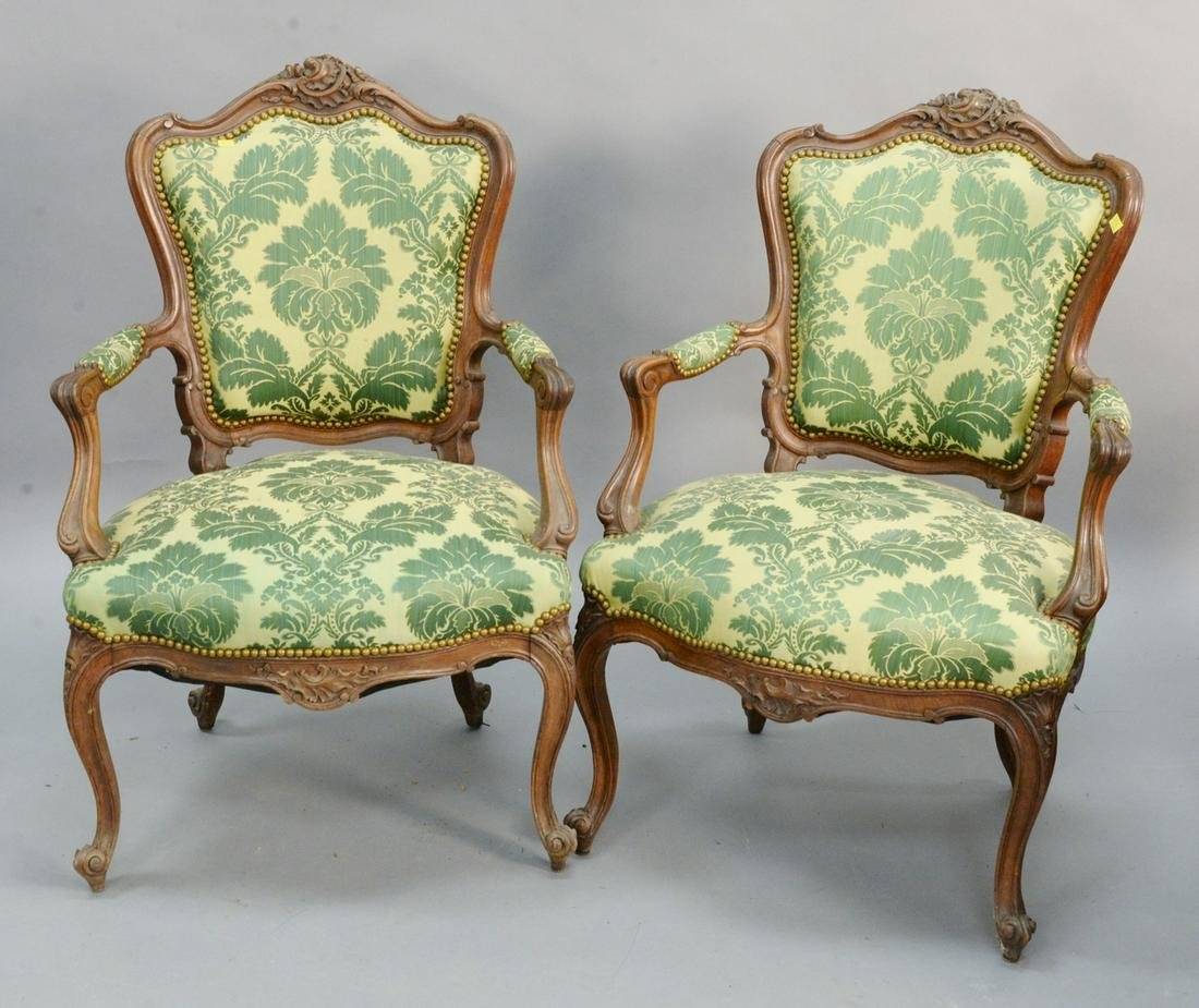 Pair of Louis XV style upholstered armchairs.