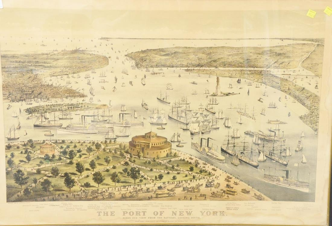 "Currier & Ives lithograph ""The Port of New York"", birds"
