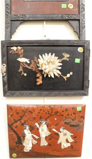 Group of five Japanese appliqued lacquer panels having