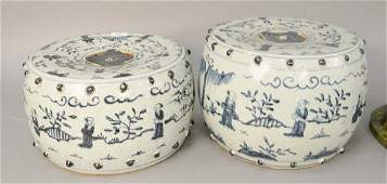 Two Chinese blue and white porcelain garden seats,