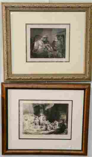 Four contemporary etchings after Rembrandt Adam and
