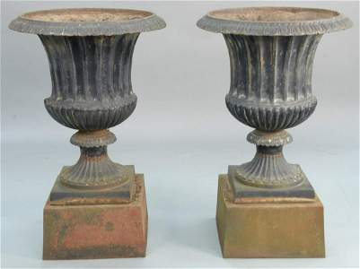 """Pair of large iron urns on pedestals, ht. 43 1/2"""", dia."""