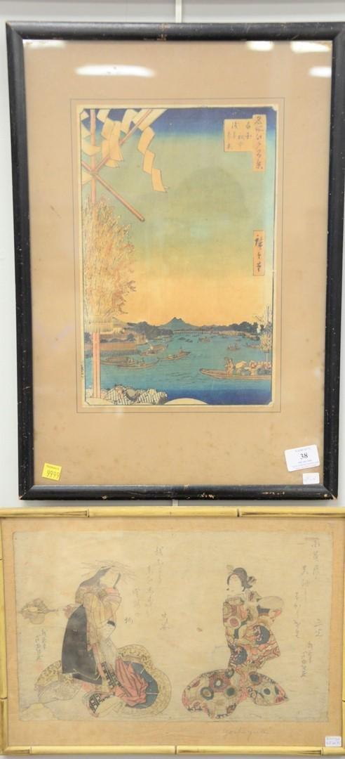 Three 19th C. Japanese woodblock prints, Japanese