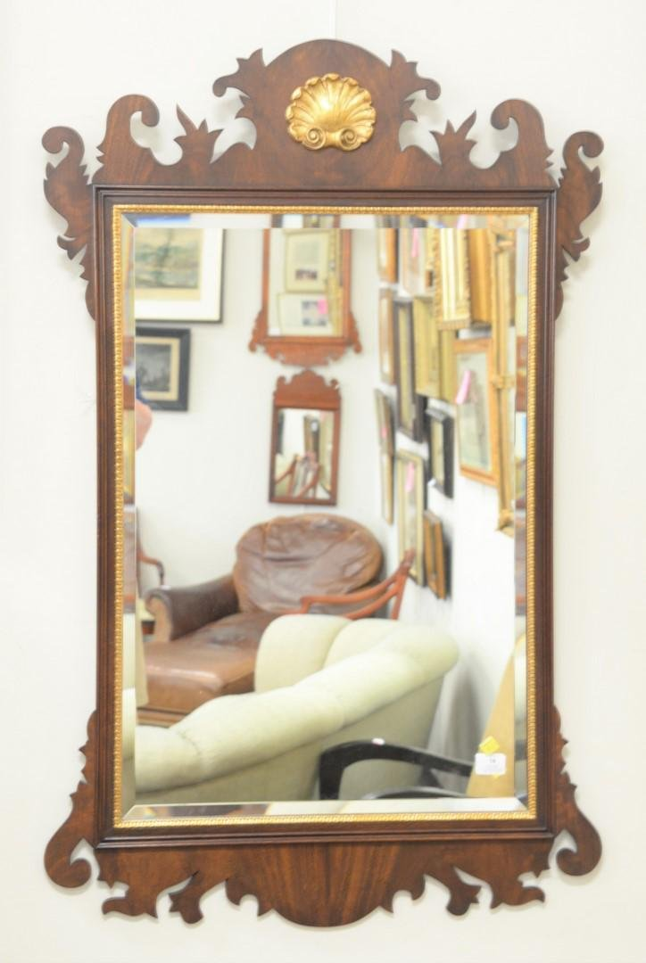 Henkel Harris mahogany framed beveled mirror,