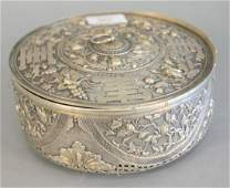 Chinese Export silver covered box potpourri box cover