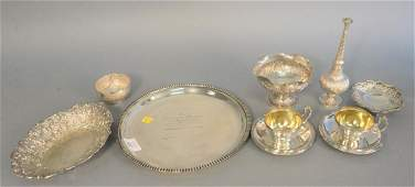 Continental silver group to include German silver tray