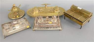 Five desk sets to include 2 silver plated desk sets