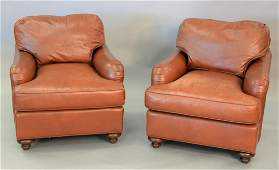 """Pair of Baker leather easy chairs, ht. 28 1/2"""", wd."""