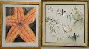 Group of four framed pieces to include Truss lithograph