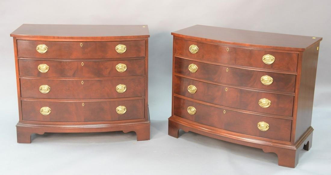 """Pair Ethan Allen mahogany 4-drawer chests, ht. 32"""", wd."""
