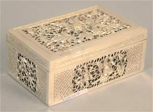 """Silver Chinese cricket box, ht. 1 1/2"""", top 2 3/4"""" x"""