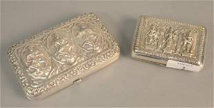 Two Indonesian silver cigarette boxes with figures, one