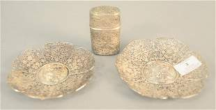 Three-piece reticulated silver lot to include two