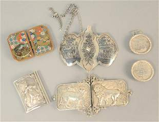 Five belt buckles to include four silver and one