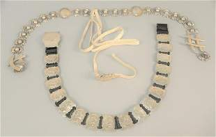 Three silver belts to include one mounted with stones,