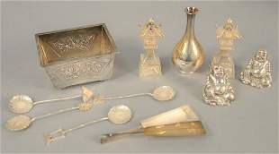Nine-piece lot to include Chinese and Japanese silver,