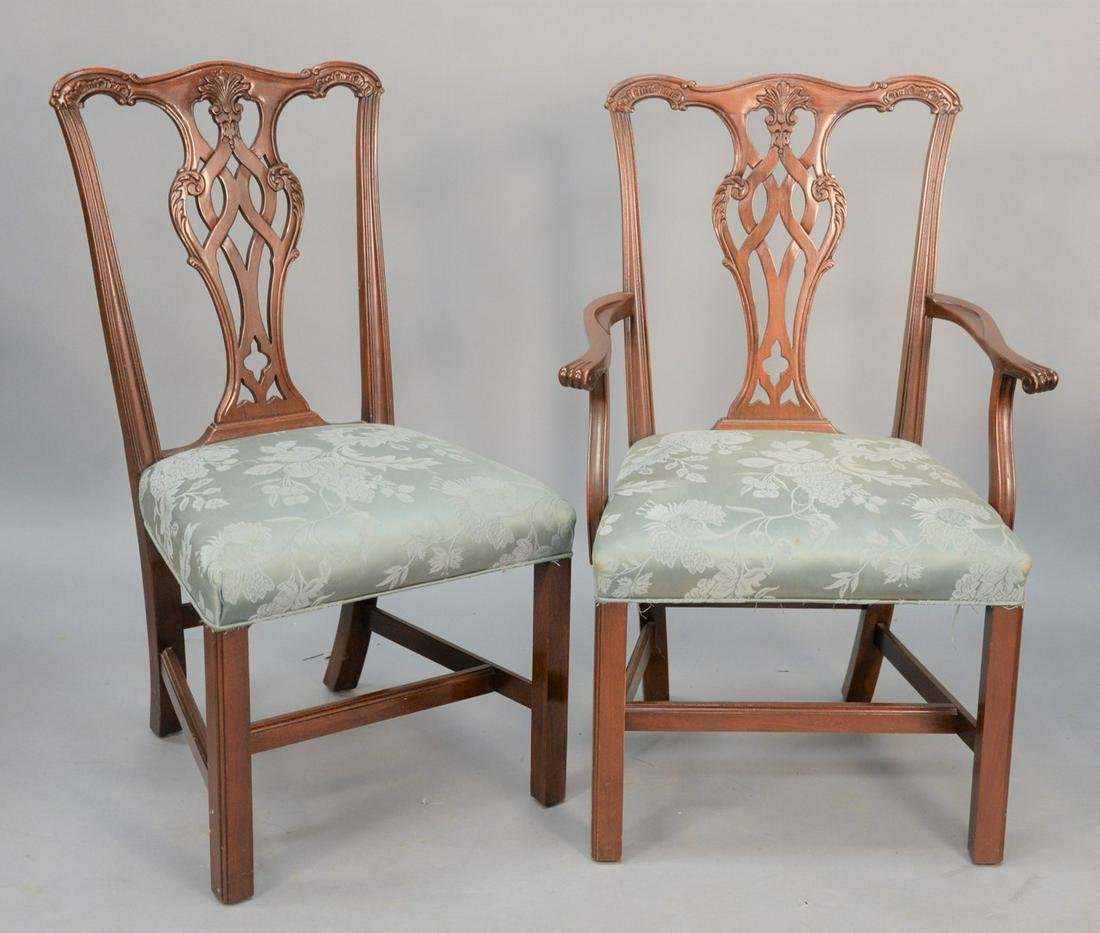 Set of twelve Chippendale-style dining chairs to
