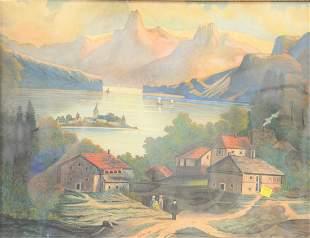 B Potts watercolor primitive landscape signed lower