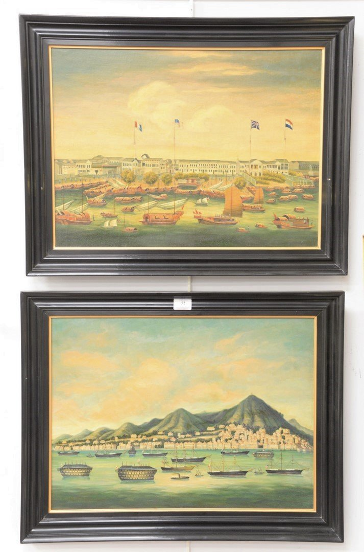 Pair of Chinese oil on canvas to include view of Canton