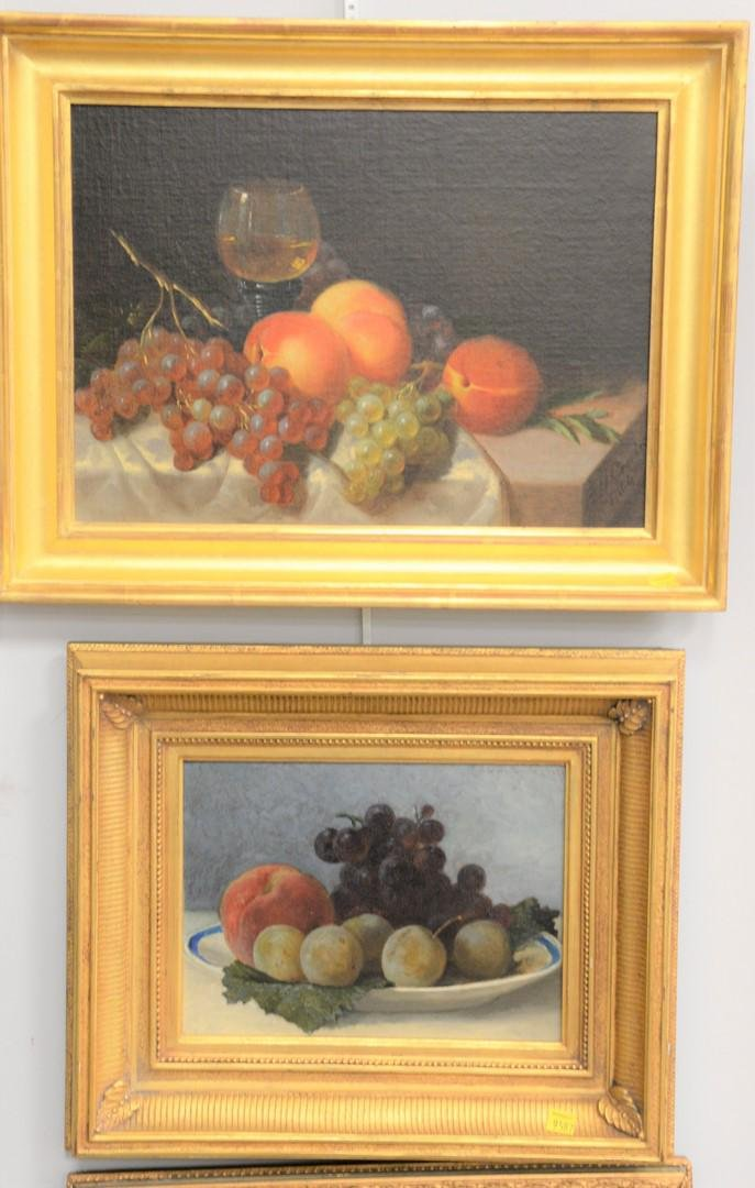 Four 19th C. still life oil on canvas of fruit to