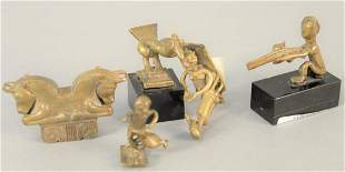 Group of five small bronze early figures double