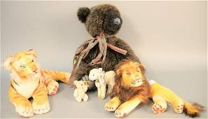 "Five stuffed animals, small Steiff bear, ht. 3 3/4"""