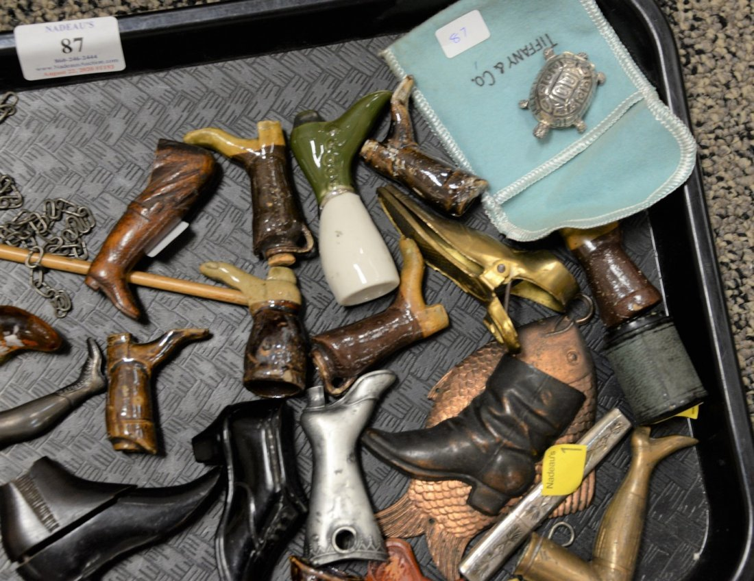 Tray lot of assorted collectibles to include leg and