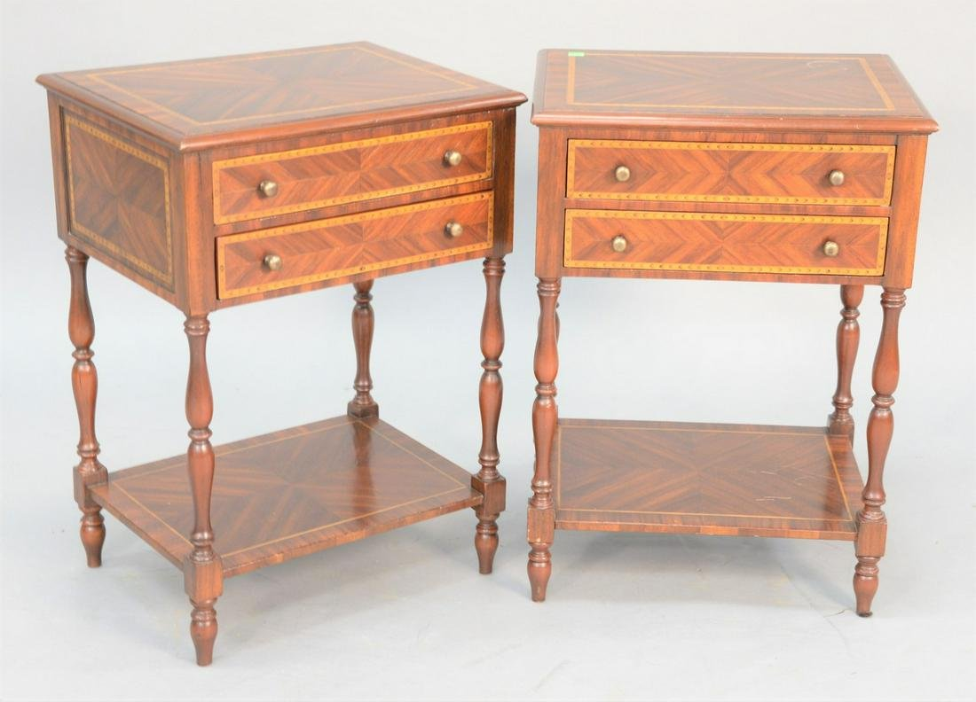 Pair of inlaid side tables each having two drawers, ht.