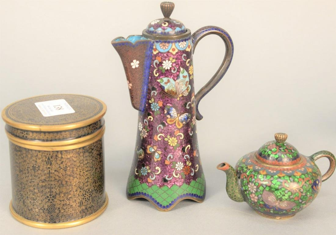 Three piece Chinese cloisonne group to include teapot,
