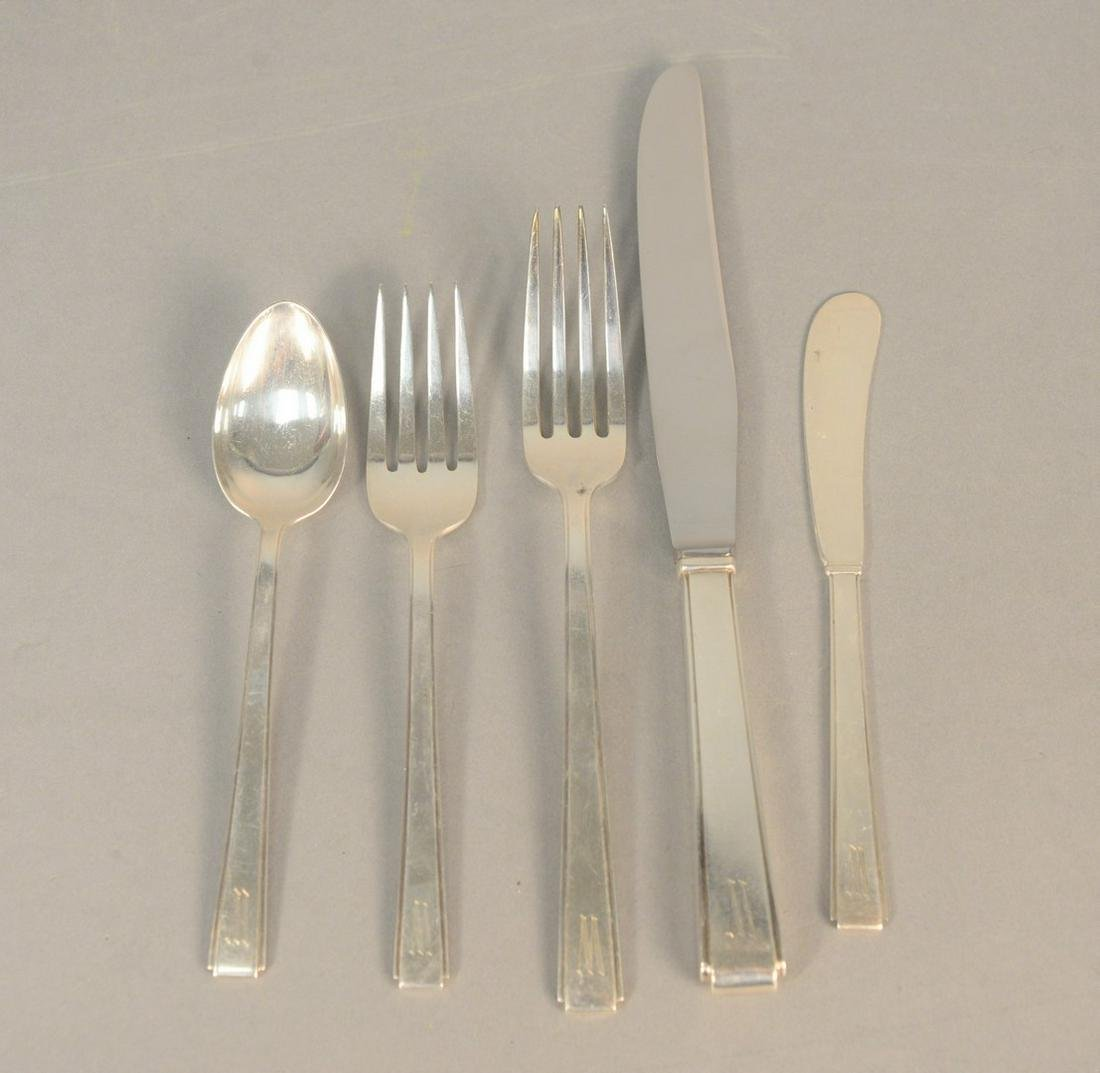 Fifty-five piece sterling silver flatware set to