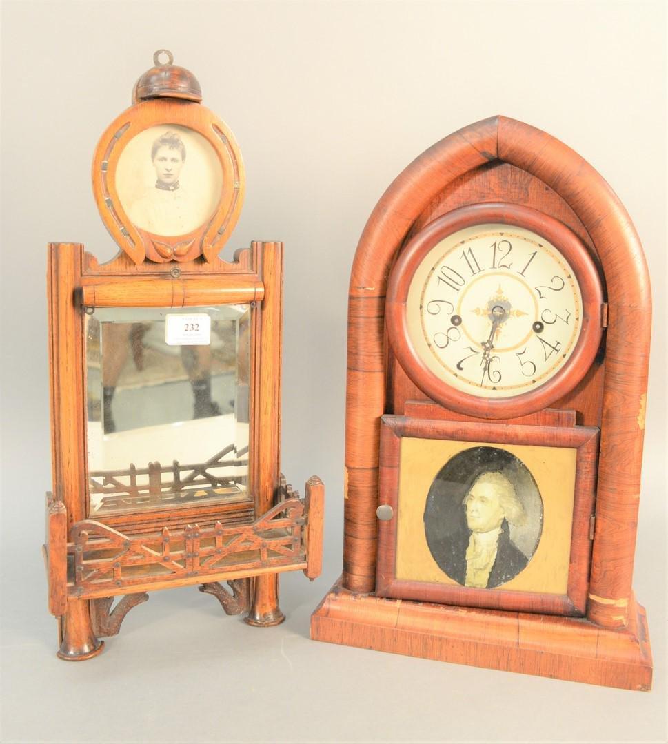 Two-piece group, George Washington mahogany mantle