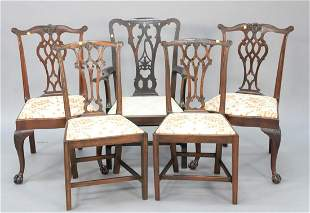 Group of five Chippendalestyle dining chairs two