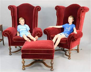 Three-piece Lee Jofa upholstered lot to include pair