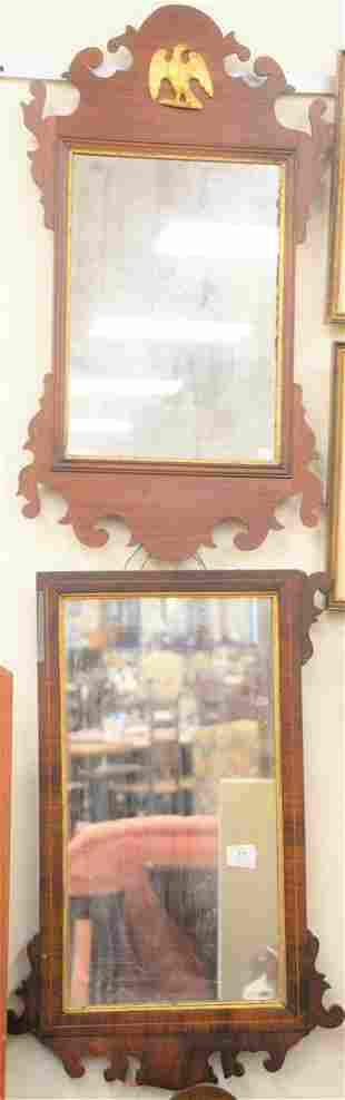 Three Chippendale style mahogany mirrors one as is 31