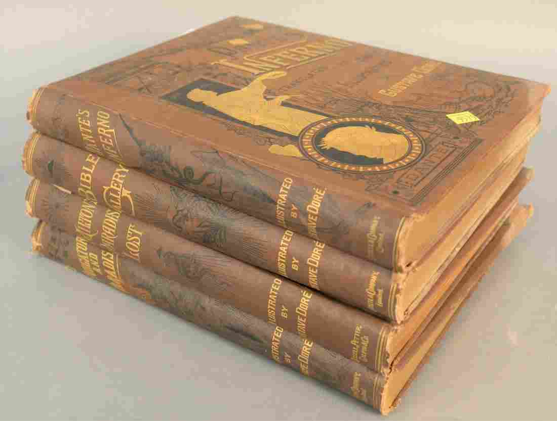 Set of four Dante's Inferno translated by Cary,