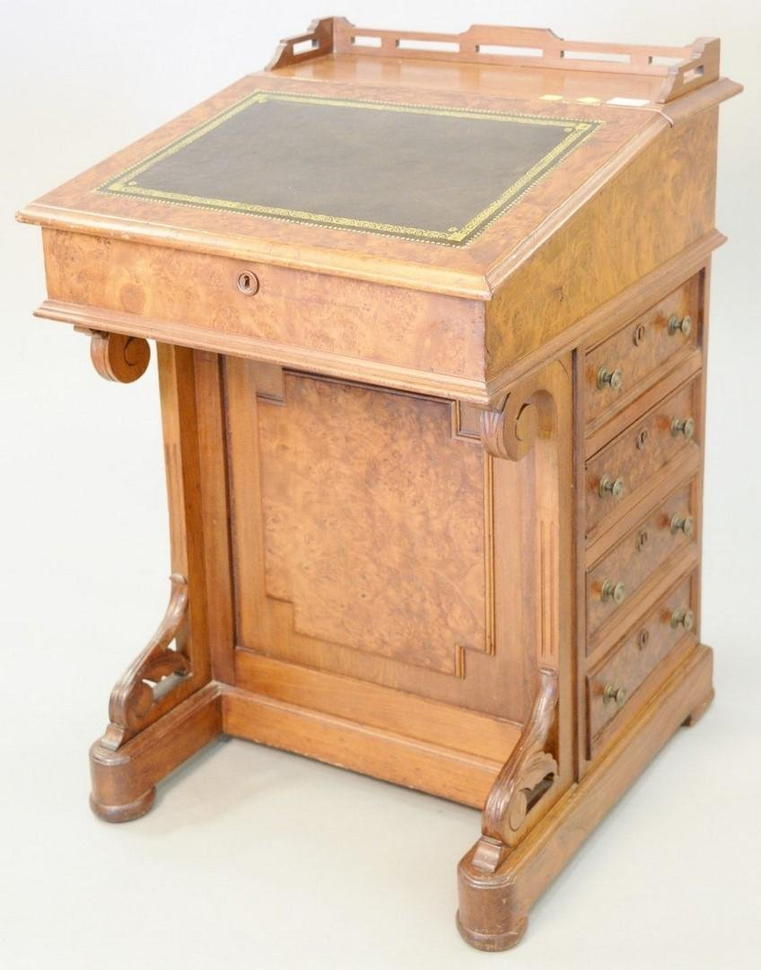 "Walnut and burl walnut Davenport desk, ht. 33"" x wd."