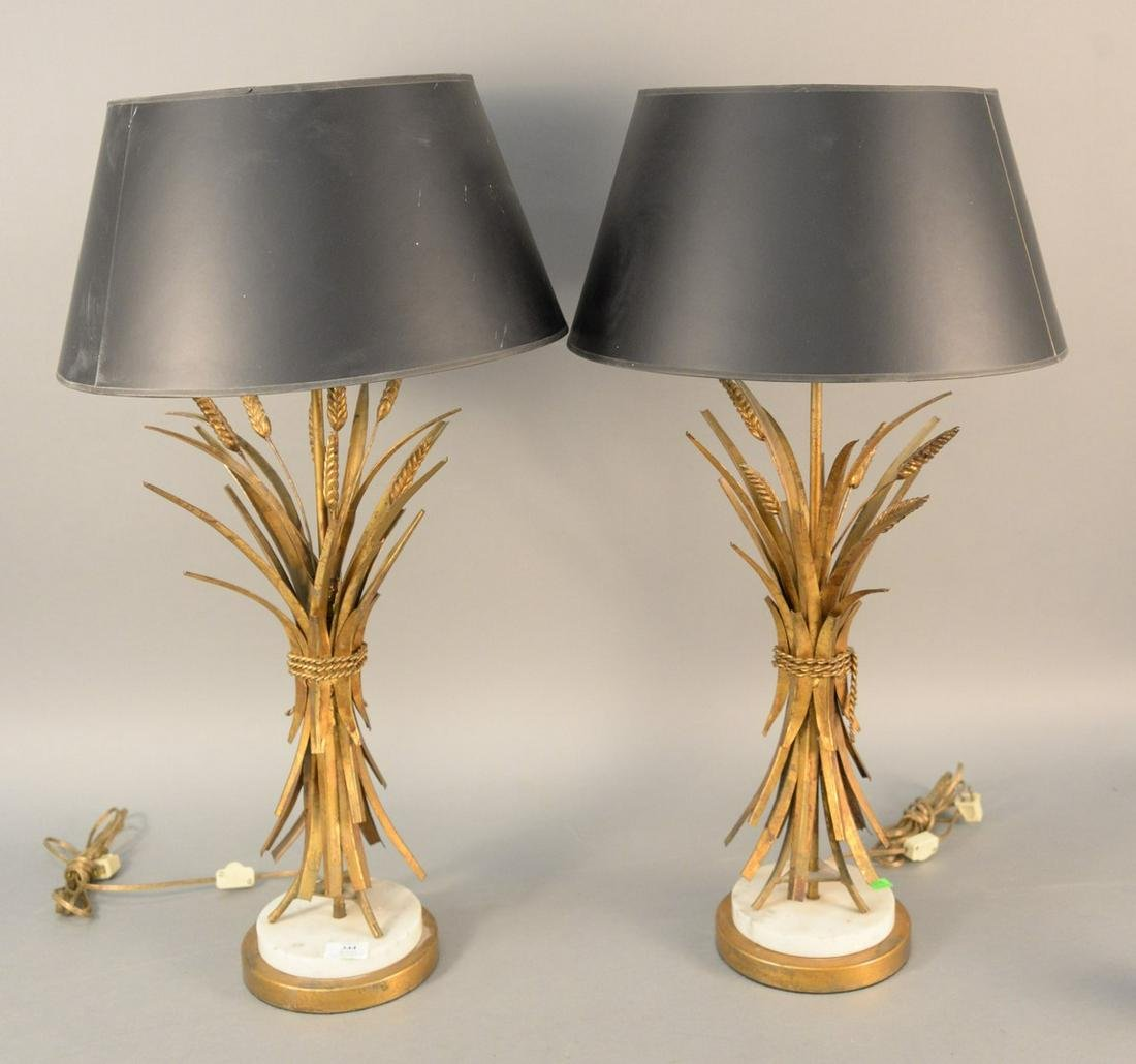 Pair of brass Mid-Century modern wheat form table