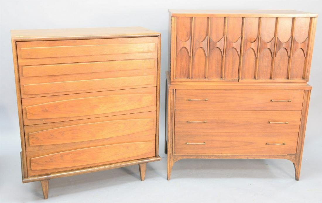 Two Mid-Century tall chests, one having five drawers,